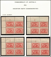 Lot 558 [4 of 6]:1931 Kingsford Smith 2d & 3d mint collection incl imprint pairs, 2d plate number blocks of 4 (1 to 8) and 3d plate number blocks of 4 (1 to 3). (17 items)