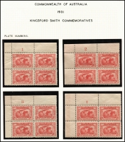 Lot 558 [5 of 6]:1931 Kingsford Smith 2d & 3d mint collection incl imprint pairs, 2d plate number blocks of 4 (1 to 8) and 3d plate number blocks of 4 (1 to 3). (17 items)