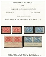 Lot 558 [6 of 6]:1931 Kingsford Smith 2d & 3d mint collection incl imprint pairs, 2d plate number blocks of 4 (1 to 8) and 3d plate number blocks of 4 (1 to 3). (17 items)