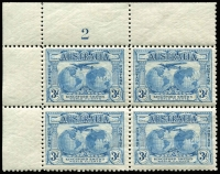 Lot 558 [1 of 6]:1931 Kingsford Smith 2d & 3d mint collection incl imprint pairs, 2d plate number blocks of 4 (1 to 8) and 3d plate number blocks of 4 (1 to 3). (17 items)