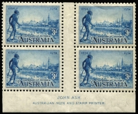 Lot 575 [1 of 3]:1934 Victoria Centenary Perf 10½ 3d Ash imprint block of 4 with Flag right of tower nearest hand, BW #152za, Cat $150.