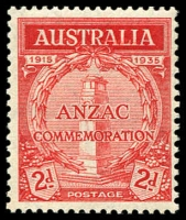 Lot 583 [3 of 9]:1935 Anzac 2d & 1/- pair, 2d bottom corner of 9 with AL joined by coloured line, 2d set of plate number blocks of 4, BW #164-5, mint. Plus Vic Centenary complete MLH set of both perfs. (22 items)