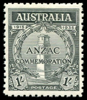 Lot 583 [4 of 9]:1935 Anzac 2d & 1/- pair, 2d bottom corner of 9 with AL joined by coloured line, 2d set of plate number blocks of 4, BW #164-5, mint. Plus Vic Centenary complete MLH set of both perfs. (22 items)