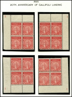 Lot 583 [5 of 9]:1935 Anzac 2d & 1/- pair, 2d bottom corner of 9 with AL joined by coloured line, 2d set of plate number blocks of 4, BW #164-5, mint. Plus Vic Centenary complete MLH set of both perfs. (22 items)