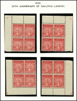 Lot 583 [6 of 9]:1935 Anzac 2d & 1/- pair, 2d bottom corner of 9 with AL joined by coloured line, 2d set of plate number blocks of 4, BW #164-5, mint. Plus Vic Centenary complete MLH set of both perfs. (22 items)