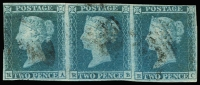 Lot 1492:1841 2d Blue Plate 4 horiz strip of 3 [RA-RC] SG #14, with 1844 BN cancels. The left unit [RA] has variety Shifted transfer SG-Spec #ES14e. Scissor cut in margin between first and second stamps, margins close in places and clear all round, SG #14.