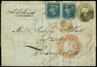 Lot 1521 [1 of 2]:1847-54 1/- Green Embossed SG #55, a fine 4 clear margins Die WW1 plus two 2d blue imperf Plate 4 [GI & GK] on entire to Frankfurt with three strikes BN '498' of Manchester alongside mss '1/4', oval red 'P' handstamp, and d/ring transit indicating route 'ENGLAND PER AACHEN'. backstamps in red 'MANCHESTER/MY7/1852' receiving, in London unusual use of Unpaid s/ring cds '1852/8MY8/B(crown)B' as transit, black small s/ring 'D6/10 5'. Scarce colourful 1/4d combination franking.