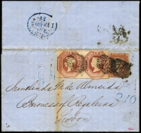 Lot 1522:1854 10d Brown Embossed SG #57, pair, no noticable die so probably Die 1, shaved top and touching at left (plus 1d imperf) tied three firm strikes London Inland Section BN Diamond '16' to Bank of England Power of Attorney Application printed letter, to Irmelinda M de Almeida, Baroness of Regaleira, Lisbon. Backstamps receiving MC in black 'L.S/23/JU23/1854' (Lombard Street) and unclear blue oval arr (also handstamp '210' in blue on front). Storage-related aging, colourful 1/9d combination franking, scarce to rare, cat £4,500+.