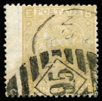 Lot 1538:1867-80 Large White Letters 9d pale straw Plate 4 [BE], SG #111, with London diamond BN '95' cancelling a fine wing-margin example of a difficult stamp, Cat £300.
