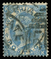 Lot 1543:1867-80 Large White Letters 2/- blue wmk Spray, appears pale shade Plate 1 [SK], SG #120, with part Margate BN '506' duplex cancel, Cat £275. A better cancel than usual.
