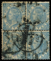 Lot 1544:1867-80 Large White Letters 2/- blue wmk Spray appears pale shade, Plate 1 block of 4 [GA-GB/HA-HB], SG #120, oily London duplex cancels, perf and other imperfections. Most of these difficult stamps have heavy cancels, these are no exception. Blocks nevertheless are seriously scarce, Cat £1,400 for block of 4. Good value.