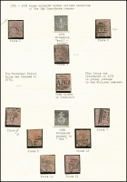 Lot 1555:1873-80 Large Coloured Letters 2½d rosy mauve neat display page presentation mainly fine and comprising [1] Wmk Small Anchor 1875 Plates 1, 2 & 3 SG #139, Plate 1 cancelled barred 'C' of Constantinople; [2] Wmk Orb 1876-79 Plates 4, 5, 7, 8, 12, 13 & 15 SG #141, Plate 5 with barred 'A26' of Gibraltar. Other pmks include Bishop Auckland cds, Newspaper, Scottish, London District and Inland. (10)