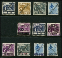 Lot 3205 [2 of 2]:1940s Group mint range of diagonal 'Rep. Indonesia' ovpts on [1] 1c, 2½c, 3½c (small faults) Huts & 5c Dancer, [2] 2½c Hut with manual oblieration of 'NED INDIES', [3] 2c, 3½c Huts & 5c Dancer x2 all with Japanese Occupation handstamps, [4] printed 'Repoeblik/Indonesia' 40 sen on 2c Huts. Also poor PTT cancel on 1c Hut & 2c Hut with Japanese Occupation handstamp. An interesting group. (12)