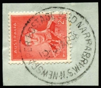 Lot 1050:Narrabri: 'NEWSPAPER POSTAGE PAID NARRABRI/1D-30AP38/N.S.W' on 2d red KGVI on piece.  PO 1/6/1861.