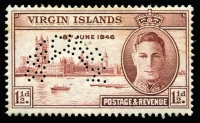 Lot 979 [2 of 8]:1945-47 Victory Stamps: in stockbook, all mint (many MUH), incomplete, includes Hong Kong, also Virgin Islands perfed with 'SPECIMEN'. (140+)