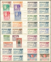 Lot 979 [5 of 8]:1945-47 Victory Stamps: in stockbook, all mint (many MUH), incomplete, includes Hong Kong, also Virgin Islands perfed with 'SPECIMEN'. (140+)