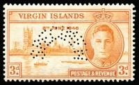 Lot 979 [1 of 8]:1945-47 Victory Stamps: in stockbook, all mint (many MUH), incomplete, includes Hong Kong, also Virgin Islands perfed with 'SPECIMEN'. (140+)