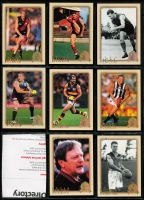 Lot 1056 [5 of 8]:Sport: AFL 1996-2012: Select Hall of Fame Gold Foil Embellished and Embossed Cards - 1996 common (110) Team of the Century (23) Legends (12), 2003 HOF (49), 2007 HOF (34), 2012 HOF (32 & 34). Plus HOF Legends (15) incl Ablett, Dunstall, Daicos, Skilton, Stewart, Murray, Matthews, Bartlett, Nicholls, Dyer, Barrassi & Hudson. (290+)