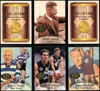 Lot 1056 [1 of 8]:Sport: AFL 1996-2012: Select Hall of Fame Gold Foil Embellished and Embossed Cards - 1996 common (110) Team of the Century (23) Legends (12), 2003 HOF (49), 2007 HOF (34), 2012 HOF (32 & 34). Plus HOF Legends (15) incl Ablett, Dunstall, Daicos, Skilton, Stewart, Murray, Matthews, Bartlett, Nicholls, Dyer, Barrassi & Hudson. (290+)