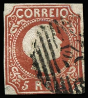 Lot 1818:1855-56 Pedro V Straight Hair SG #10 5r red-brown, 4 close/touching margins, Cat £1,400. 'GF' expertising handstamp.