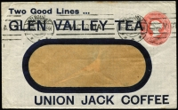 Lot 1344 [1 of 2]:1910 (Nov 19) use of 1d dull rose Henry Berry window envelope (Stieg #KB23B), bold 'GLEN VALLEY TEA' and 'UNION JACK COFFEE' advertising, attractive and rare, minor tones. Backstamps of unframed 'POWLETT RIVER/NO8/10/VIC' (B1) and 'POWLET