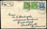 Lot 2216 [1 of 2]:Mitta Junction Reservoir: 'MITTA JUNCTION          /28AU30/VIC' (A1 - RESERVOIR removed) on 1d green KGV x2 & 3d Sturt on cover with blue & black C1 registration label.  PO 6/10/1921; renamed Mitta Junction PO 1/8/1922.