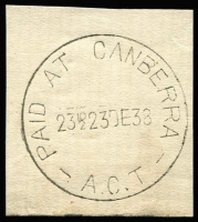 Lot 814:Canberra (2): 'PAID AT CANBERRA/23½D23DE38/A.C.T' on piece. [From manufacturer's proof page.]  Renamed from Acton PO 2/6/1913; renamed Queen Victoria Terrace PO 1/2/1983.