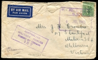 Lot 790:Unit Postal Station violet boxed 'UNIT POSTAL STATION/S.101/4JUL1943' (Jacky Jacky, Qld) on 4d Koala on air cover (faults) to Victoria, violet 'AUSTRALIAN/MILITARY FORCES/PASSED BY CENSOR/152'. [Rated NS by Proud - Identified as Thursday Island by Collas, but Bamaga, near the tip of Cape York, seems more likely.]