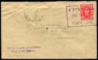 Lot 782 [1 of 2]:Unit Postal Station violet boxed 'UNIT POSTAL/24JUL1942/STATION E.L.C. 5' (NSW L of C Engineer Training Depot - ERD) on 2½d red KGVI on cover to Victoria. [Rated NS by Proud]