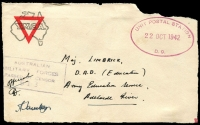 Lot 777:Unit Postal Station violet oval 'UNIT POSTAL STATION/22OCT1942/D.9.' (ERD - Pine Creek, NT) on stampless YMCA front to Adelaide River, violet 'AUSTRALIAN/MILITARY FORCES/PASSED BY CENSOR/513'. [Rated 75 by Proud]
