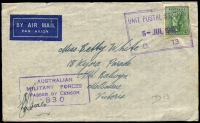 Lot 779:Unit Postal Station violet double-boxed 'UNIT POSTAL STATION/5JUL1942/D.13' (ERD - Katherine, NT) on stampless YMCA front to Adelaide River, violet 'AUSTRALIAN/MILITARY FORCES/PASSED BY CENSOR/830'. [Rated 100 by Proud]