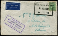 Lot 778:Unit Postal Station black double-boxed 'UNIT POSTAL STATION/5JUL1942/D.12' (Darwin, NT) on 4d Koala on air front to Melbourne, violet 'AUSTRALIAN/MILITARY FORCES/PASSED BY CENSOR/413'. [Rated 100 by Proud]