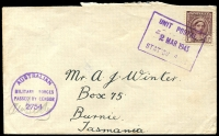 Lot 781:Unit Postal Station violet boxed 'UNIT POSTAL/2MAR1943/STATION E. 26
