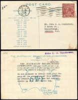 Lot 600 [2 of 7]:1917-48 Range [1] 1½d brown KGV on 1919 Woolhara receipt Postal Card, [2] 1934 stampless PMG QSL reply card for 3LR with violet straight-line 'OFFICIAL PAID' on face, [3] 1934 1½d brown KGV on QSL reply card for 6WI Perth, [4] 1½d brown on 1937 1rst Field PO PPC with picture of van, [5] 1917 Field Service Postal Card to NSW with double-circle 'AR