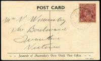 Lot 600 [3 of 7]:1917-48 Range [1] 1½d brown KGV on 1919 Woolhara receipt Postal Card, [2] 1934 stampless PMG QSL reply card for 3LR with violet straight-line 'OFFICIAL PAID' on face, [3] 1934 1½d brown KGV on QSL reply card for 6WI Perth, [4] 1½d brown on 1937 1rst Field PO PPC with picture of van, [5] 1917 Field Service Postal Card to NSW with double-circle 'AR
