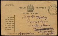 Lot 600 [4 of 7]:1917-48 Range [1] 1½d brown KGV on 1919 Woolhara receipt Postal Card, [2] 1934 stampless PMG QSL reply card for 3LR with violet straight-line 'OFFICIAL PAID' on face, [3] 1934 1½d brown KGV on QSL reply card for 6WI Perth, [4] 1½d brown on 1937 1rst Field PO PPC with picture of van, [5] 1917 Field Service Postal Card to NSW with double-circle 'AR