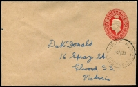 Lot 600 [5 of 7]:1917-48 Range [1] 1½d brown KGV on 1919 Woolhara receipt Postal Card, [2] 1934 stampless PMG QSL reply card for 3LR with violet straight-line 'OFFICIAL PAID' on face, [3] 1934 1½d brown KGV on QSL reply card for 6WI Perth, [4] 1½d brown on 1937 1rst Field PO PPC with picture of van, [5] 1917 Field Service Postal Card to NSW with double-circle 'AR