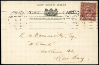 Lot 600 [6 of 7]:1917-48 Range [1] 1½d brown KGV on 1919 Woolhara receipt Postal Card, [2] 1934 stampless PMG QSL reply card for 3LR with violet straight-line 'OFFICIAL PAID' on face, [3] 1934 1½d brown KGV on QSL reply card for 6WI Perth, [4] 1½d brown on 1937 1rst Field PO PPC with picture of van, [5] 1917 Field Service Postal Card to NSW with double-circle 'AR