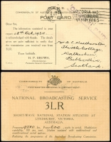 Lot 600 [1 of 7]:1917-48 Range [1] 1½d brown KGV on 1919 Woolhara receipt Postal Card, [2] 1934 stampless PMG QSL reply card for 3LR with violet straight-line 'OFFICIAL PAID' on face, [3] 1934 1½d brown KGV on QSL reply card for 6WI Perth, [4] 1½d brown on 1937 1rst Field PO PPC with picture of van, [5] 1917 Field Service Postal Card to NSW with double-circle 'AR