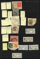 Lot 1144 [3 of 10]:Military POs: good selection of WWI Camps on 1d red KGVs, incl rare Molonglo Concentration Camp followed by good selection of WWII Camps and their registration labels, incl rare double-circle Mil P.O. Darwin No 1 on piece with 5/- Robes x5. Very good lot. (70 + 39 labels)