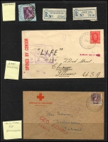 Lot 1144 [5 of 10]:Military POs: good selection of WWI Camps on 1d red KGVs, incl rare Molonglo Concentration Camp followed by good selection of WWII Camps and their registration labels, incl rare double-circle Mil P.O. Darwin No 1 on piece with 5/- Robes x5. Very good lot. (70 + 39 labels)