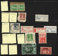 Lot 1144 [6 of 10]:Military POs: good selection of WWI Camps on 1d red KGVs, incl rare Molonglo Concentration Camp followed by good selection of WWII Camps and their registration labels, incl rare double-circle Mil P.O. Darwin No 1 on piece with 5/- Robes x5. Very good lot. (70 + 39 labels)