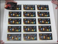 Lot 459:2015 Solar System Our Solar System M/S - Imperforate & Embellished $45.00 2015: Our Solar System M/S - 8 Unique M/S + 1 Imperforated & Embellished (Only 250 Sets produced), includes Certificate of Authenticity. In APost tube. (2)