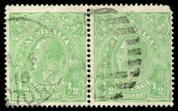 Lot 157:½d Green Comb Perf Electro 3 Clubbed fraction bar at left right unit in pair, BW #63(3)r, right unit rounded corner Cat $1,500.