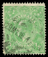 Lot 159:½d Pale Emerald Line Perf BW #64A, Cat $900.