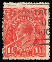 Lot 280:1½d Red Die I White diagonal line across half of stamp, caused by foreign object on paper during printing. Impressive.