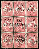 Lot 155 [1 of 2]:State Perfin Group used group with some duplication, 1st Wmk 'OS/NSW' ½d to 6d incl 1d block of 9, 'T'' 1d, 3d, 4d & 6d, 2nd Wmk 'OS/NSW 1d & 1/-, 'T' 6d, 3rd Wmk 'OS/NSW' 2d to 6d, 'T' 3d, 'ACO' 1/-. Generally reasonable to good condition. (40+)