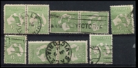 Lot 10 [2 of 2]:½d Green selection of Plate 1 left pane flaws, positions 4-5 pair, 7-8 pair, 11-2, 14-1, 15, 18-2, 22, 23-1, 35-36 pair, 45-41 pair, 47, 48, 49-55 pair & 59. Odd fault, useful group. (19)
