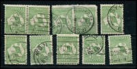 Lot 10 [1 of 2]:½d Green selection of Plate 1 left pane flaws, positions 4-5 pair, 7-8 pair, 11-2, 14-1, 15, 18-2, 22, 23-1, 35-36 pair, 45-41 pair, 47, 48, 49-55 pair & 59. Odd fault, useful group. (19)