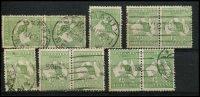 Lot 11 [2 of 2]:½d Green selection of Plate 1 right pane flaws, positions 2-3 pair, 3-4 pair, 6-2, 9, 13-14 pair, 22, 28, 28-34 pair, 32, 35-36 pair, 39, 55-56 pair & 59-60 pair. Positions 13 & 55 are catalogued flaws. Odd fault, useful group. (18)